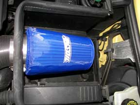 Cold Air induction filter installed in Mini Cooper with preFilter cover.