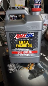 Gallon jug of small engine oil